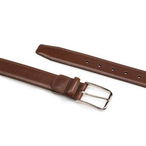 Mezlan Brown Basic Hand Burnished Calfskin Men's Belt