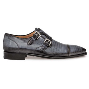 Mezlan Argentum in Grey Cap Toe Dress Double Monk Men's Shoes