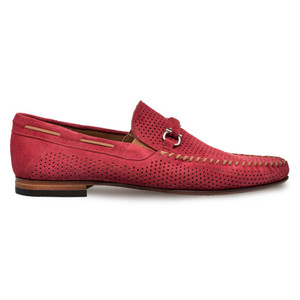 Mezla Marcello Red Perforated Suede Leather Men's Dress Moccasin