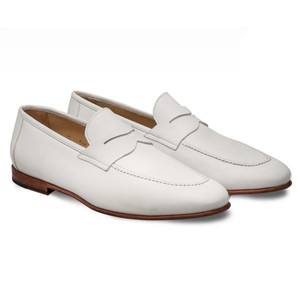 Mezlan Pompie In Bone Apron Toe Slip On Penny Men's Shoes