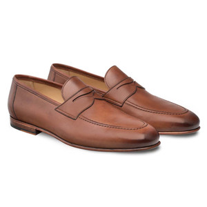 Mezlan Pompie Tan Apron Toe Slip On Penny Men's Shoes