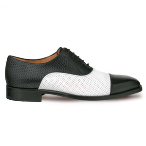 Mezlan Senna Black & White Calfskin Leather Men's Oxford