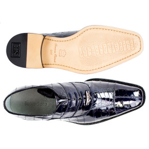 Belvedere Mare Navy Genuine Ostrich & Eel Men's Oxford
