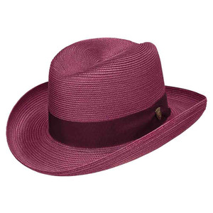 Dobbs El Dorado Straw Burgundy Firm Finish Men's Hat