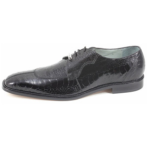 Belvedere Siena Black Genuine Ostrich Lace-Up