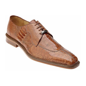 Belvedere Siena Burnt Amber Genuine Ostrich Lace-Up