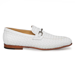 Mezlan Cerros White Calfskin Apron Toe Men's Slip On