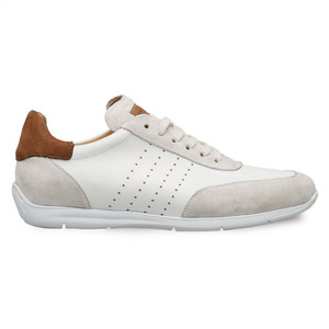 Mezlan Lukas White & Tan Suede & Calfskin Men's Sneakers