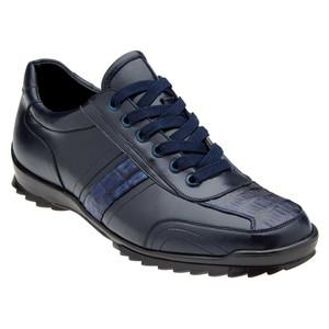 Belvedere Orfeo Navy Genuine Caiman & Soft Calf Men's Sneaker