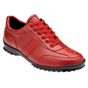 Belvedere Orfeo Red Genuine Caiman & Soft Calf Men's Sneaker