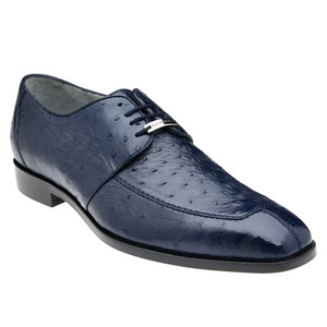 Belvedere Rovigo Navy Genuine Ostrich Men's Lace Shoes