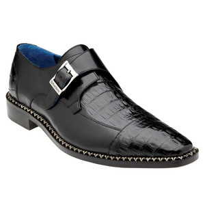 Belvedere Falcon Black Genuine Caiman Crocodile & Italian Calf Monk Strap Men's Shoe