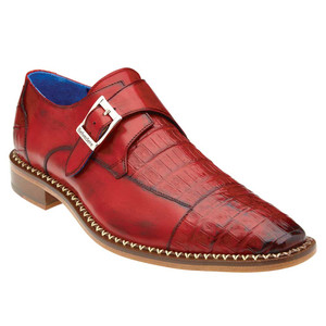 Belvedere Falcon Antique Cherry Genuine Caiman Crocodile & Italian Calf Monk Strap Men's Shoe