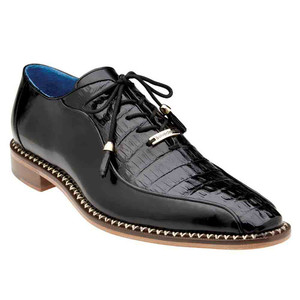 Belvedere Gabriele Black Genuine Caiman & Italian Calf Men's Oxford