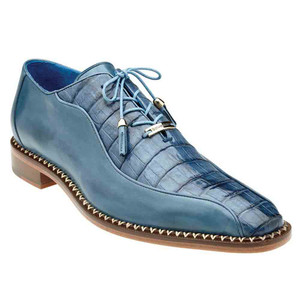 Belvedere Gabriele Antique Blue Jean Genuine Caiman & Italian Calf Men's Oxford