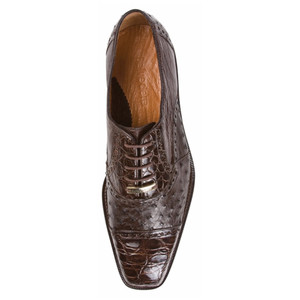 Belvedere Onesto Brown Genuine Ostrich & Crocodile Oxford