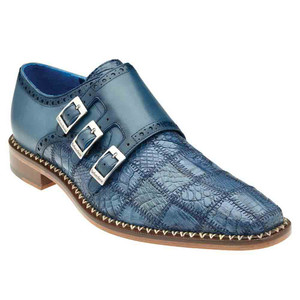 Belvedere Hurricane Blue Jean Genuine Caiman Patch Work Monk Strap Men's Shoe