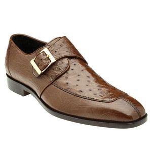 Belvedere Josh Brown Genuine Ostrich Monk Strap Men's Shoe