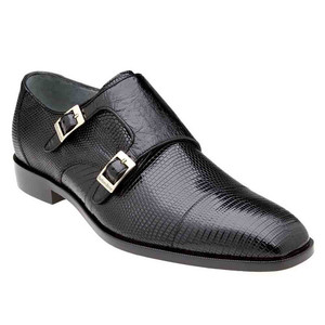 Belvedere Pablo Black Genuine Lizard & Ostrich Monk Strap Men's Shoe