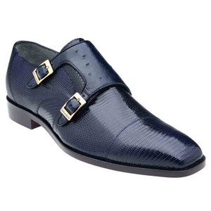 Belvedere Pablo Navy Genuine Lizard & Ostrich Monk Strap Men's Shoe