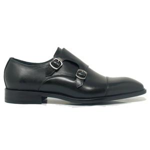 Carrucci Black Leather Double Monk Strap Men's Shoes