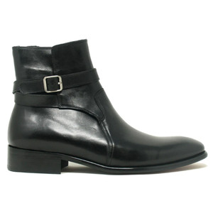 Carrucci Black Strap Buckle Leather Men's Boots