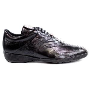 Belvedere Bene Black Genuine Ostrich & Soft Calf Men's Sneaker