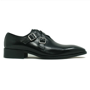 Carrucci Black Leather Cross Double Buckle Monk Strap Men's Loafers