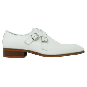 Carrucci White Leather Cross Double Buckle Monk Strap Men's Loafers