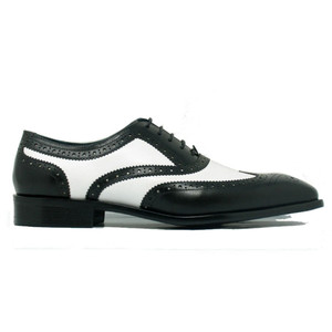 Carrucci Black & White Leather Men's Wingtip Oxford