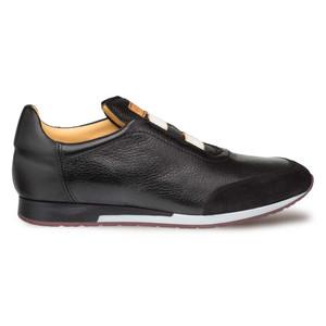 Mezlan Marathon Black Suede Deerskin Calfskin Men's Slip on Sneaker
