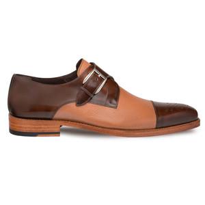 Mezlan Phoenix Camel Dual Tone Calfskin & Deerskin Cap Toe Monk Strap Men's Loafer