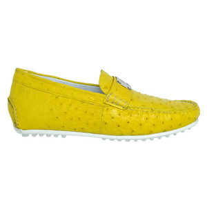 Mauri Sunset Mimosa Yellow Exotic Ostrich Men's Loafers