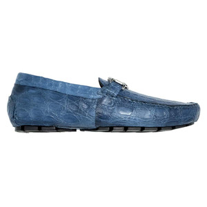 Mauri Tide Caribbean Blue Crocodile Flanks Men's Slip On Loafers