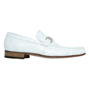 Mauri Royalty White Ostrich Leg Men's Slip On Loafers