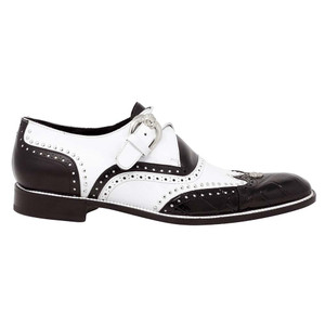 Mauri Godfather Black & White Body Alligator & Calf Monk Strap Men's Oxford