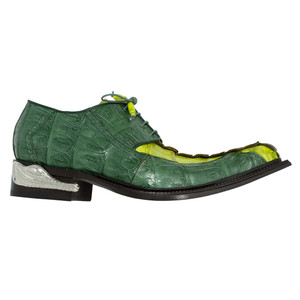 Mauri Double Dragon Multi Green Hornback Crocodile Men's Oxfords