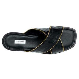 Mauri Luxor Black Ostrich Leg Men's Sandals