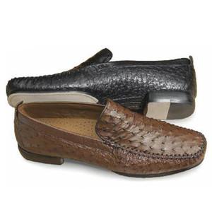 Mezlan Rollini Black Slip-Ons Genuine Ostrich Skin