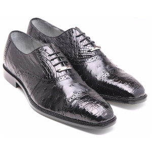 Belvedere Onesto Black Crocodile & Ostrich Oxford