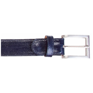 Belvedere Navy Genuine Eel Skin Dress Belt