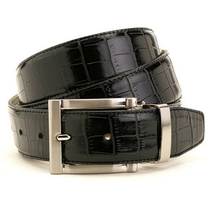Avanti Black Italian Leather Alligator Print Dress Belt