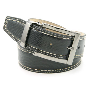Avanti Black Italian Leather Lizard Print Dress Belt