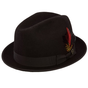 Dobbs Rocky Black Wool Felt Men's Homburg Hat