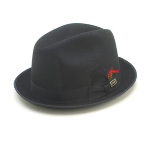Dobbs Rocky Black Wool Felt Men's Homburg Hat