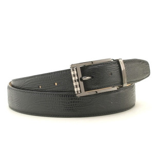 Marco Valentino Black Lizard Print Leather Dress Belt