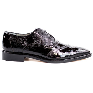 Belvedere Nino Black Genuine Ostrich & Eel Oxfords