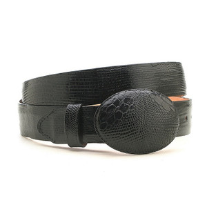 Los Altos Black Genuine Lizard Belt