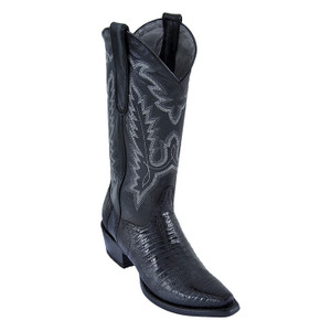 Los Altos Women's Black Snip Toe Teju Lizard Boots