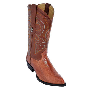 Los Altos Cognac J-Toe Genuine Ostrich Leg